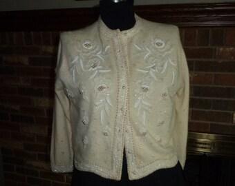 Vintage 1960s Beaded Lambs Wool Cardigan Sweater