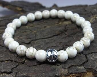 Bracelet Peace and color Howlithperlen