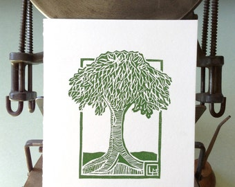 Ex Libris Tree hand-carved linoleum block print in spring green on white paper blank letterpress greeting card