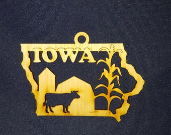 Iowa state ornament laser cut wood
