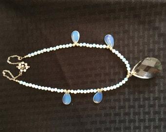 blue sea glass opal