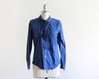 Vintage Plaid Cotton Blouse / Ascot Blouse / Cotton Blouse / Fitted Cotton Shirt