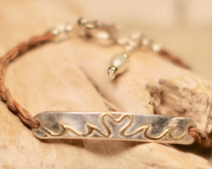 "Fine Silver Bar Bracelet with 22k Gold Plated Heart-Wave Design on a Leather Braided Cord 7.5"" Long"