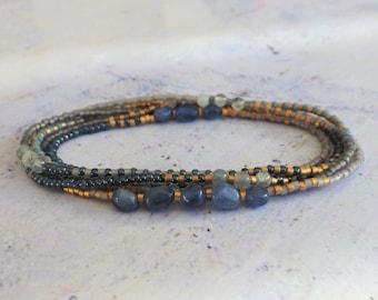 Wrap bracelet, seed bead bracelet, dainty bracelet, Kyanite, Labradorite
