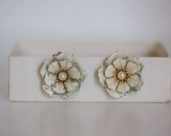 Coro Metal Flower Clip On Earrings