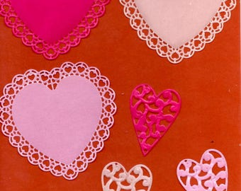 234 - Set of 6 cutouts heart for your cards or scrapbooking