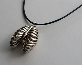 Human Rib Cage Pendant Necklace, Rib Cage Pendant, Human Anatomy Pendant Necklace, Unique Gift Idea, Gothic Jewelry, Skeleton Bones Necklace