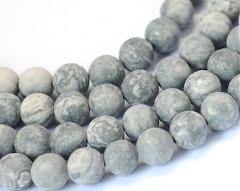 Frosted Natural Picasso Round Beads Strands 4, 6 or 8mm - Grey