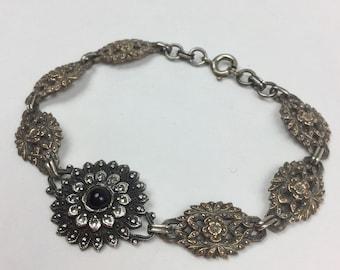 Silver Marcasite Bracelet - Sterling Silver Flower Links with Antique Silver Stones and Black Onyx Center - Vintage 40s Floral Bracelet