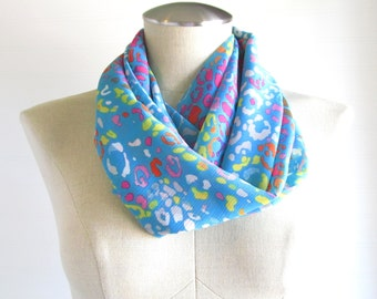 Leopard Print Scarf - Turquoise Scarf - Leopard Infinity Scarf - Multicolor scarf