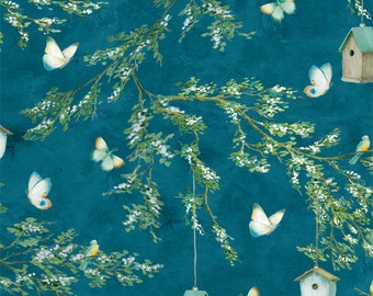 Bird Fabric - Lakeside Retreat Bird House by Daphne Brissonet for Wilmington Fabric - 44075 447  Blue - Priced by the Half Yard