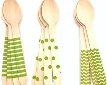 Set of 12, wooden Party spoons, polka dot, chevron, Stripes, citrus green, birthday decoration, party decorations, baby shower, party supply