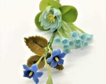 Blooming Blue Miniature Handcrafted Polymer Clay Flowers Supply for Dollhouse and Wedding Gifts