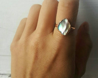 Abalone Seashell Copper Electroformed Ring/Electroformed Jewelry/Abalone Seashell/Beach Jewelry