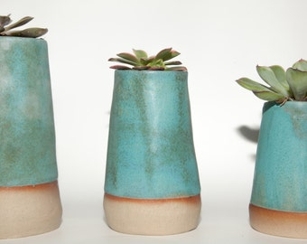 Ceramic Succulent Planters, Cute Handmade Vase, Turquoise Planter, Modern Small Rustic Plant Pot
