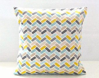 16 inch decorative pillow cover, blue teal yellow grey abstract blocks cushion cover