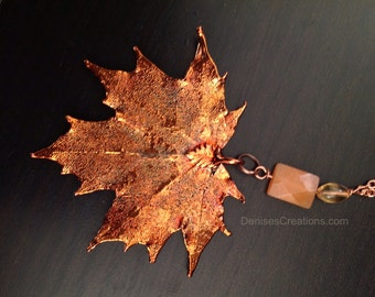 Copper Maple Electroplated Necklace by Denise Sloan