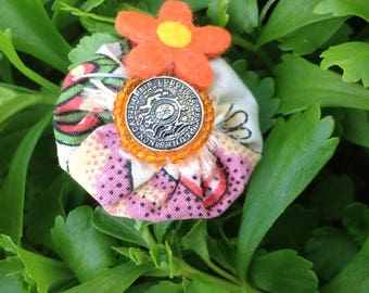 Ring fabric yoyo flower button
