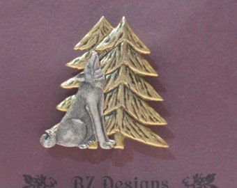 Wolf in Woods Pin - Timberwolf Brooch - Antique Silver with Antique Gold Two Tone - Studio BZ Original