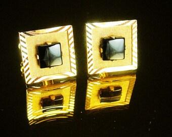 Vintage Black Gold Cufflinks CLASSIC Shields   mens formal wear accessory graduation gift womens jewelry tuxedo cuff links