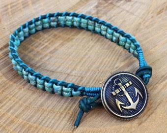 Teal & Turquoise Anchor Ladder Bracelet