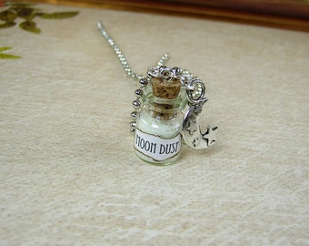 Moon Dust 0.5ml Glass Bottle Necklace Charm - Cork Vial Pendant - Glowing Glow in the Dark Moondust