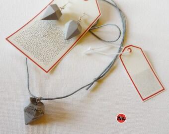 Diamond Concrete Jewelry Set