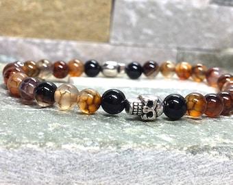 Skull bracelet skull men bracelet agate