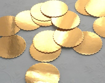 Dollhouse Miniature Supplies - 25 GOLD Foil Bakery Boards for Dollhouse miniature Cakes and Bakery Treats