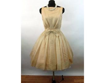 1950s dress organza beige cafe au lait ivory party dress cocktail dress with bow belt Size S/M