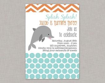 Dolphin Invitation, Dolphin Birthday Invitation, Dolphin Birthday Party, Printable