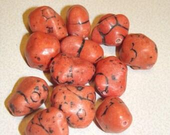 12 Light Orange Magnesite Beads Nuggets