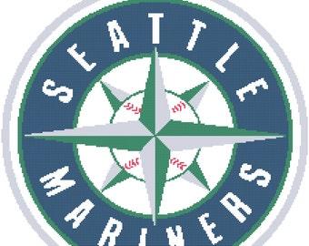 Seattle Mariners Logo -- Counted Cross Stitch Chart Patterns, 3 sizes!