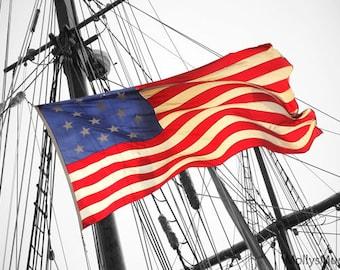 American Flag Photo, Patriotic Decor,  Red White Blue Art Photograph, Tall Sails Ship  Print, Nautical Old World Home