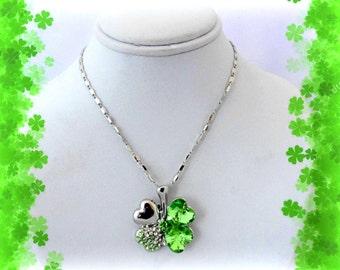 50% SALE St Patricks Day Gift..Shamrock Necklace..4 Leaf Clover Necklace..Four Leaf Clover Necklace..Lucky Charm Necklace..Shamrock Jewelry