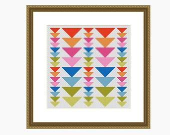 Cross stitch pattern, Modern cross stitch, GEOMETRIC TRIANGLES cross stitch chart, Instant Download PDF