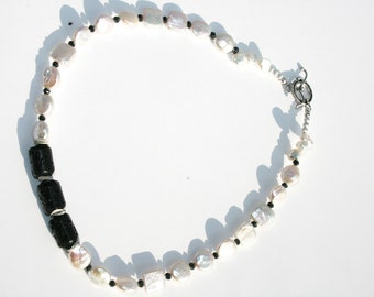NEPTUNE Lava, Pearl and Sterling Necklace