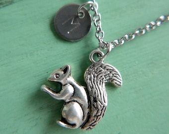 Squirrel Necklace, Initial Monogram Necklace, Stainless steel chain