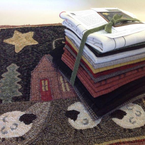 Rug Hooking KIT, Pattern and Wool for Crestview Cottage, a primitive rug hooking design, K115, Wide Cut Rug Hooking, Folk Art Cottage Design
