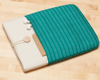 Kindle sleeve / kindle Paperwhite case / Kobo Aura sleeve / kindle voyage case - teal lines in cream