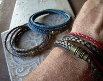 Men Leather Bracelet, Leather Bracelets for Men, Leather Bracelets for Women, Mens Bracelets Leather, Antique Brass, Magnetic Clasp,