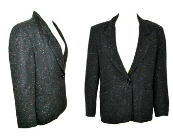 1980s Black Speckled Blazer by City Girl, Hipster Jacket, Business/Office Wear