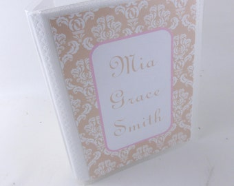 Wedding Photo Album, bridal shower gift, Damask Wedding photo album 4x6 or 5x7 photo album- engagement anniversary- 479