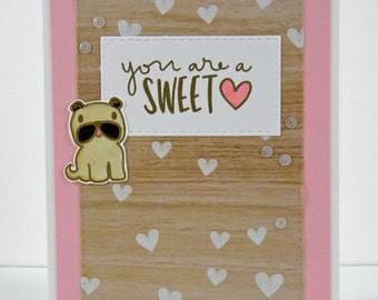 Pug Sweet Heart Card, Pug Thank you card
