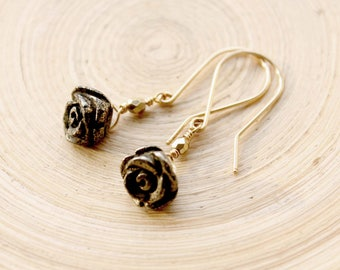 Gold filled Flower Pyrite Earrings, Small dangle gold earrings with Pyrite gemstone, Carved Pyrite beads earrings, Handmade Gold Earrings