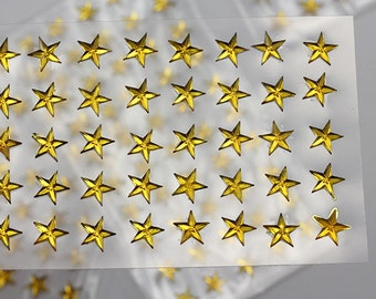 6mm 8mm Gold Topaz Stick On Star Rhinestones Gems For DIY Cards and Invitations  - 50 Pieces