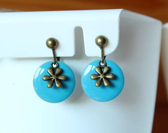 Bronze blue sequins and flower clip earrings