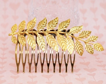 Nature Inspired Hair Comb, gold olive leaf accessories, ,Fern Branch simple rustic vintage garden weddings bridal shower Bridesmaids gifts