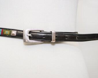 Beautiful Brighton Black Beaded Skinny Belt with Silver Buckle
