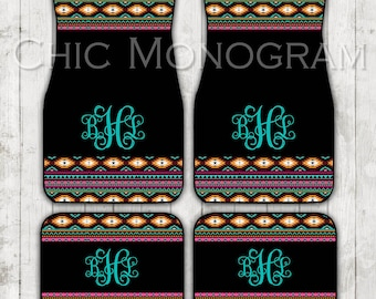 Aztec Car Mats Tribal Car Floor Mats Monogrammed Personalized Custom Car Mats Cute Car Accessories For Women Car Mat Monogram Gift Sweet 16